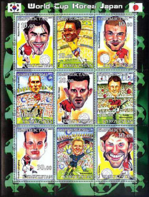2002 World Cup Football Players - 9 Stamp Mint Sheet - 5801