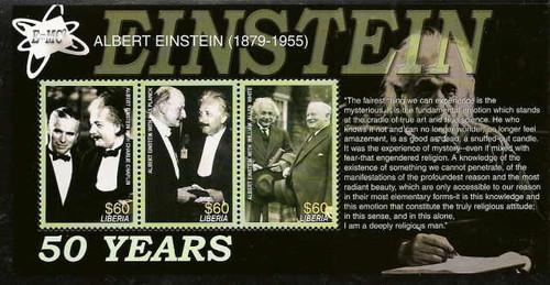 Liberia - Albert Einstein Mint Stamp Sheet of 3