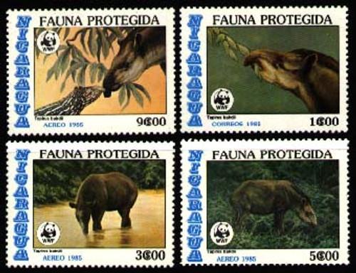 Nicaragua - WWF Tapir Complete Set of 4 - MNH
