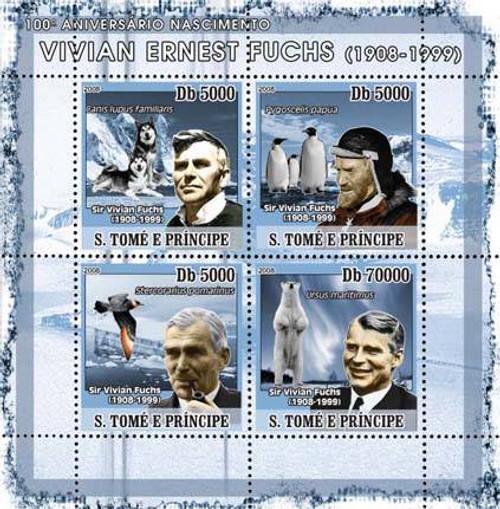 Sao Tome - Explorer Fuchs - 4 Mint Stamp Sheet ST8109a