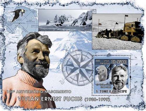 Sao Tome - Explorer Fuchs - Mint Souvenir Sheet ST8109b
