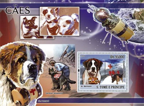 St Thomas - Dogs & Red Cross on Stamps - Mint Stamp S/S - ST8303b