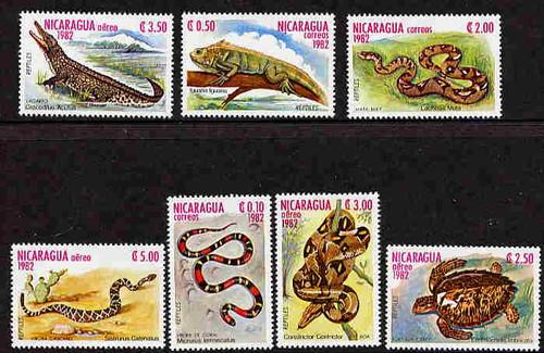 Nicaragua - Reptiles - 7 Stamp Mint Set - 1195/C1037