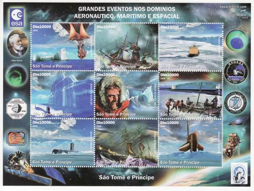St Thomas - Antarctic Exploration on Stamps - 9 Stamp Sheet 19A-106