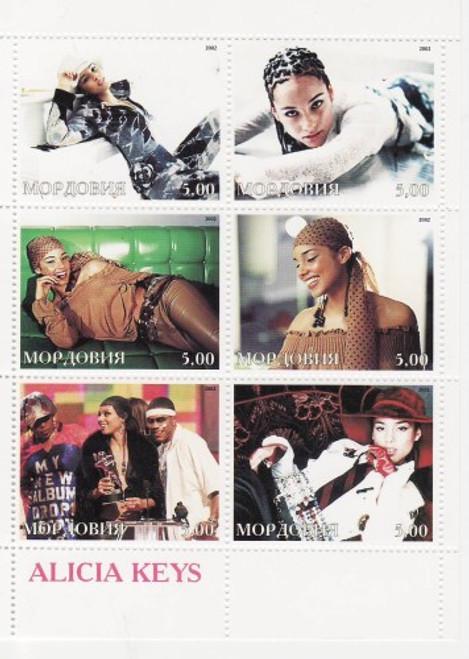 Alicia Keys - Mint Sheet of 6 MNH - 13G-007