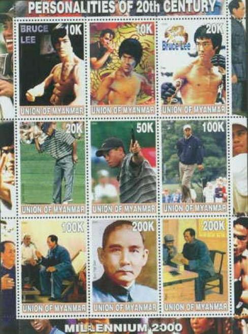 Tiger Woods, Bruce Lee, Mao,  on Stamps - 9 Stamp Mint Sheet 6507