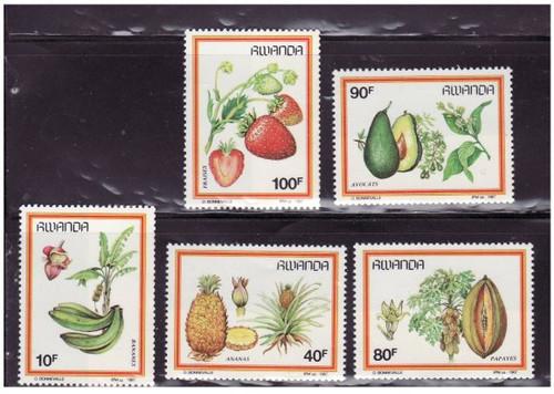 Rwanda - Fruits - Mint Set of 5 Stamps MNH - 1287-91