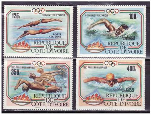 Ivory Coast - 1983 Olympic Swimming - 4 Stamp Mint Set 9A-010