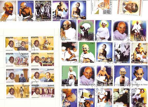 Gandhi on Stamps - Collection of 35 Different Stamps - VERY NICE!