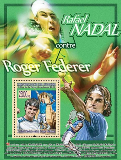 Guinea - Tennis Athletes Federer, Nadal - Mint Stamp S/S MNH - 7B-737