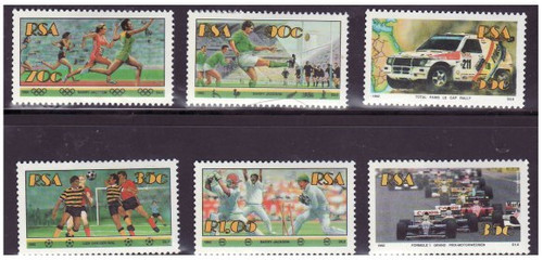 South Africa - Sports - 6 Stamps Set + S/S - 834-9/839a