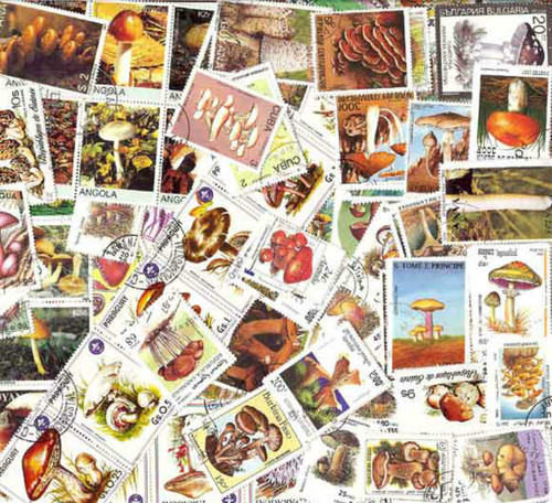 Mushrooms on Stamps Collection - 200 Different Stamps