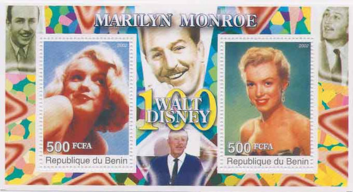 2002 Marilyn Monroe & Walt Disney on Stamps  - 2 Stamp Souvenir Sheet