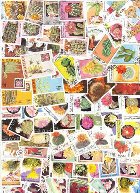 Cactus on Stamps Collection - 75 Different Stamps