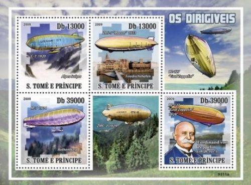 St Thomas - Zeppelins, Graf, ZMC-2 - 4 Stamp Mint Sheet MNH ST9311a