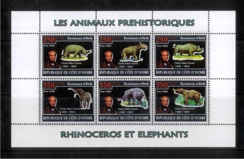 Prehistoric Animals & Darwin 6 Stamp Mint Sheet SV0472