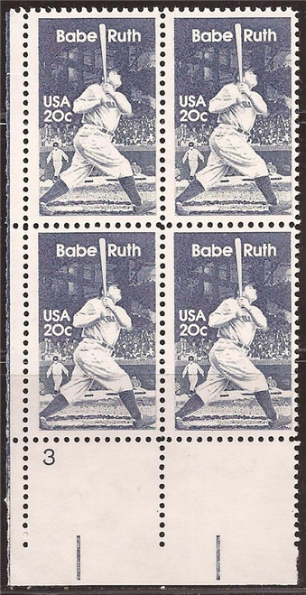 US Stamp 1983 Babe Ruth Plate - Block of 4 Stamps