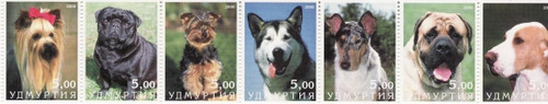 2000 Dogs on Stamps - 7 Stamp Mint Mint Strip MNH - 21A-029