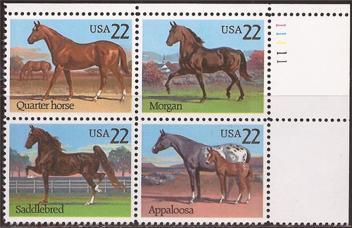 US Stamps - 1985 Horses - Plate Block of 4 Stamps #2155-8