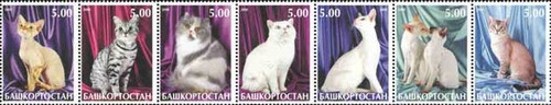 Cats - Mint Strip of 7 Stamps MNH - 944