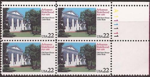 US Stamp 1986 Arkansas Statehood - 4 Stamp Plate Block