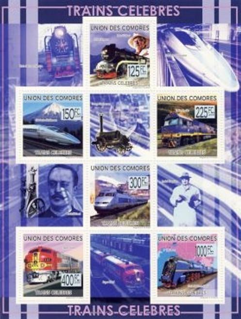 Comoros - Trains & Celebrities 6 Stamp Mint Sheet 3E-105