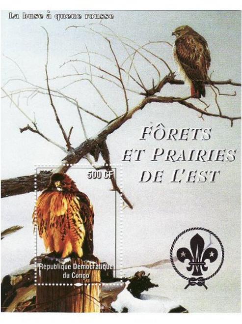 Red-Tailed Hawk Birds - Mint Souvenir Sheet MNH 3A-300