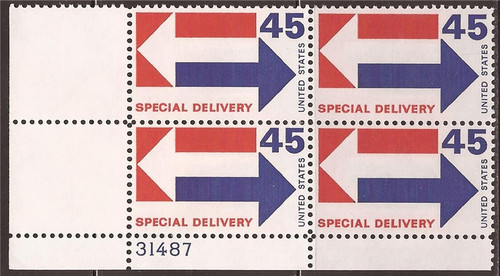 US Stamp 1969 45c Special Delivery - 4 Stamp Plate Block #E22