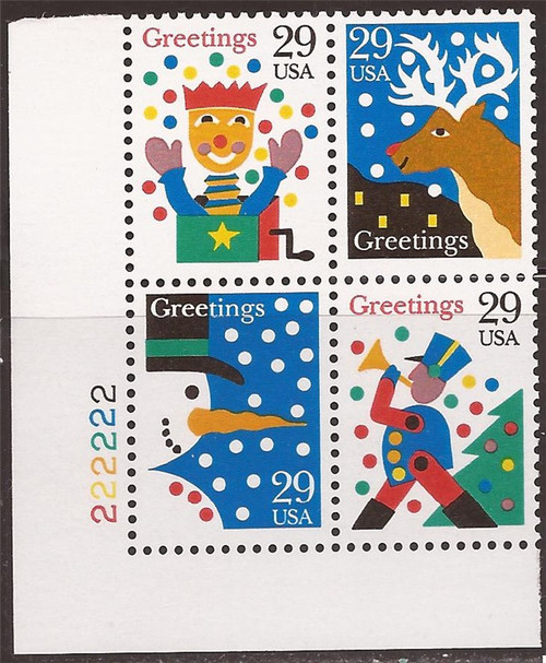 US Stamp 1993 Christmas - Plate Block of 4 Stamps #2791-4