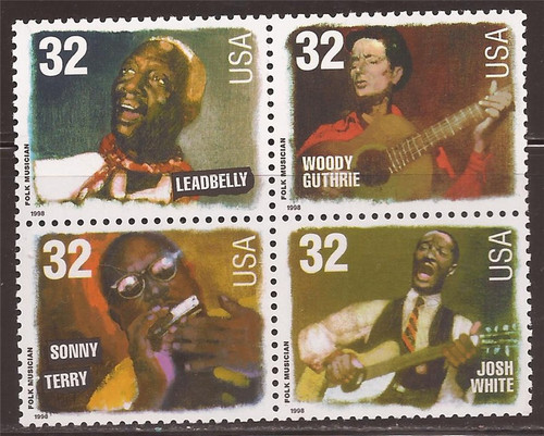 US Stamp 1998 Folk Singers - Block of 4 Stamps #3212-5