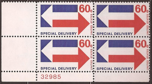 US Stamp 1971 60c Special Delivery - 4 Stamp Plate Block E23