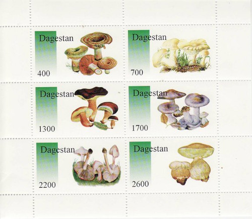 Mushrooms on Stamps - 6 Stamp Mint Sheet MNH - 4A-026