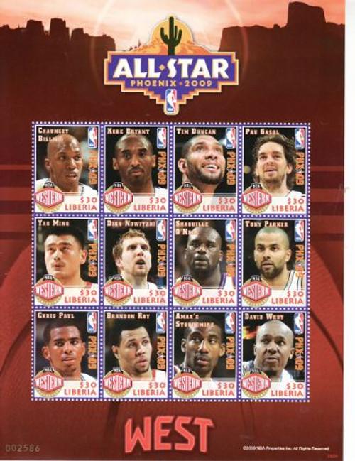 Liberia - NBA All-Stars - 12 Stamp Mint Sheet - LIB0920