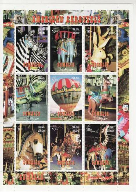 American Carousels - Mint Sheet of 9 MNH - 19B-135