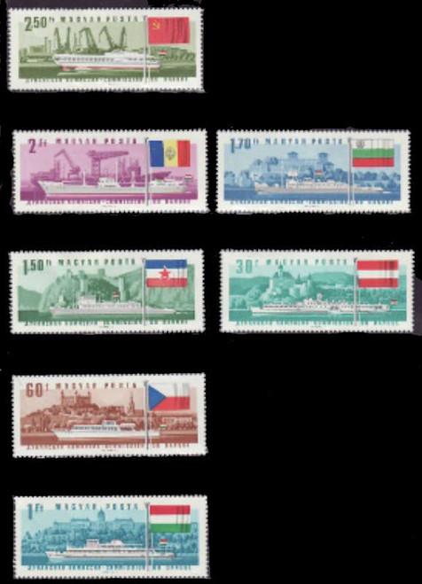 Hungary - 1967 Ships & Flags - 7 Stamp Mint Set MNH - 8C-001