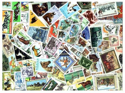 Horses on Stamps Collection - 500 Different Stamps