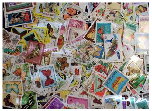 Butterflies on Stamps Collection - 500 Different Stamps