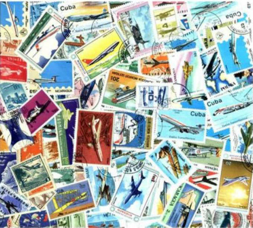Aviation Stamp Collection - 200 Different Stamps