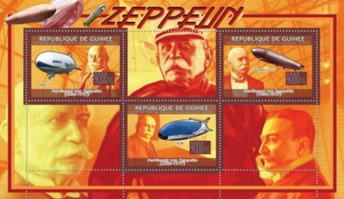 Guinea - Zeppelins on Stamps - 3 Stamp Mint Sheet MNH - 7B-968