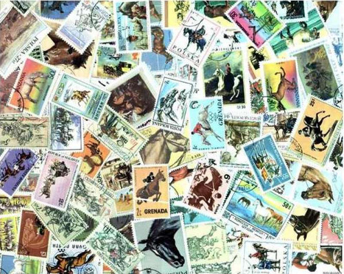 Horses on Stamps - Collection of 200 Different Stamps
