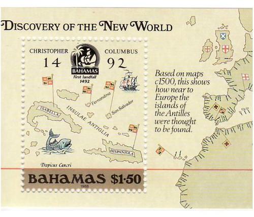 Bahamas - New World Map - Mint Stamp S/S MNH - 2P-001