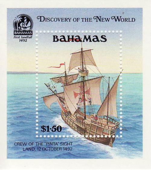 Bahamas - Columbus Ship - Mint Stamp S/S MNH - 2P-004