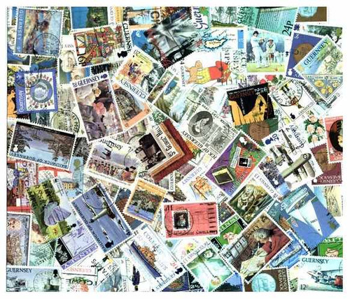 Guernsey Stamp Collection - 100 Different Stamps