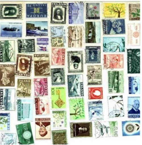 Iceland Stamp Collection - 50 Different Stamps