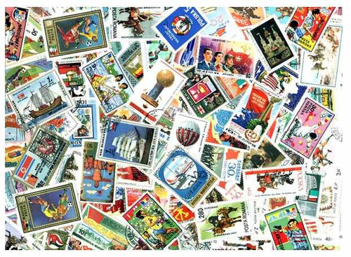 Flags on Stamps Collection - 300 Different Stamps