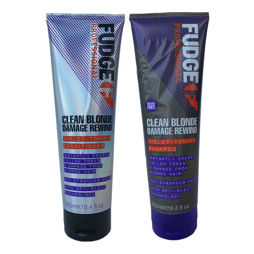 Fudge Clean Blonde Damage Rewind Violet Toning Shampoo & Conditioner 250ml (bubbly labels)
