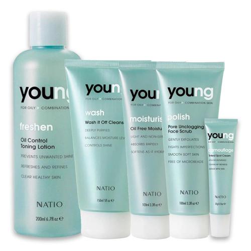 Natio Young Skincare Bundle including Moisturiser, Toner, Cleanser, Tinted Spot Cream and Face Scrub