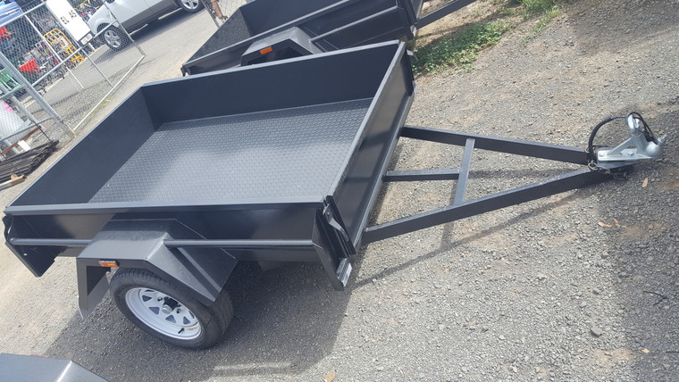 """6 X 4 Trailer  Checker Plate floor, Drop front, 12"""" Sides"""