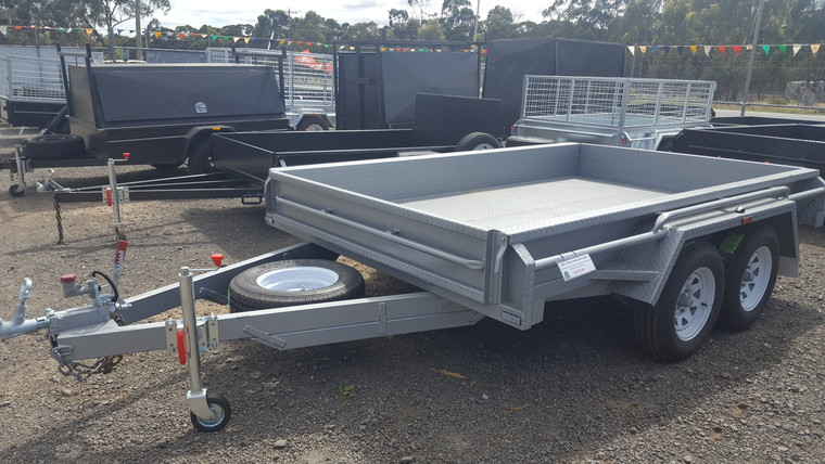 10 X 6 Heavy Duty Tandem Trailer Full Checker Plate Drop Front with Jockey Wheel and Spare Wheel With New Light Truck Tyres