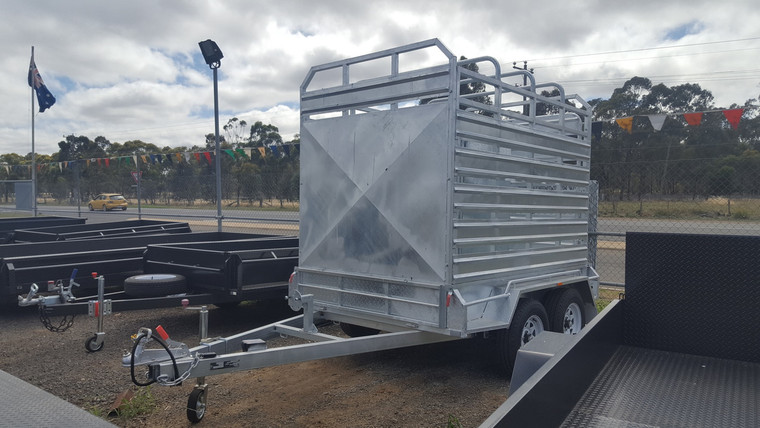 8 X 5 Cattle Stock Galvanised Trailer 2800kg GVM With Electric Brakes Drop Down removable rear and front gate, With Jockey Wheel and Spare Wheel, Removable Cattle crate